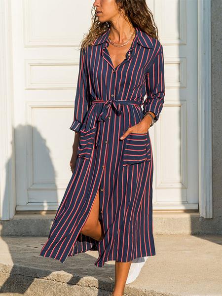 Milanoo Vestidos largos de mujer Vestido largo de camisa de cuello redondo con estampado de gasa de manga larga