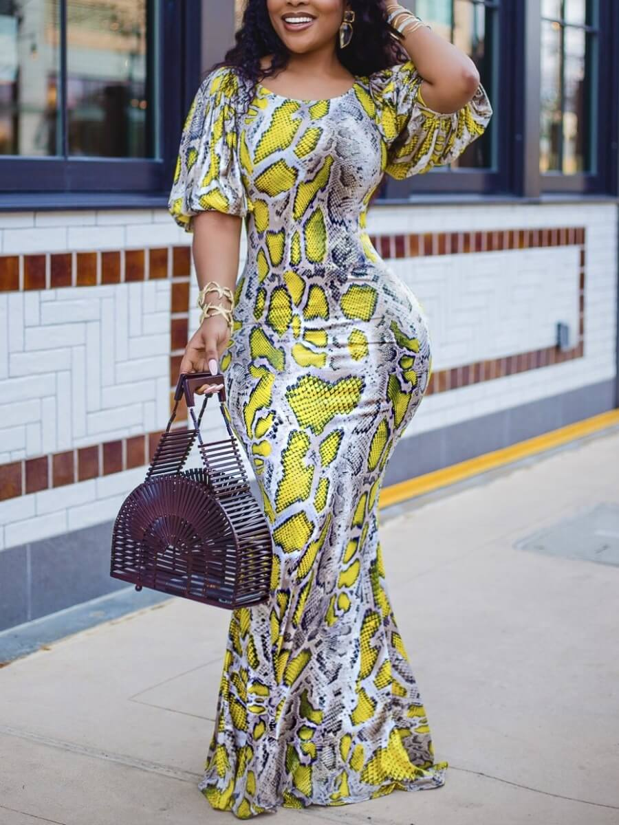 LW Lovely Sweet Animal Print Puffed Sleeve Yellow Floor Length Dress
