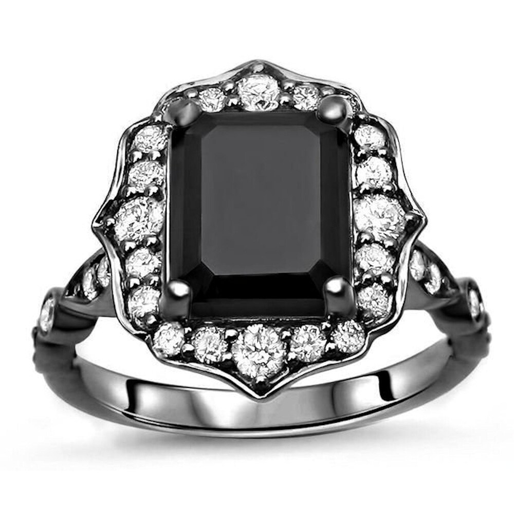 14k Black Gold Plated 3 & 1/2ct Emerald Cut Black Diamond Engagement Ring Vintage Style (5.5)
