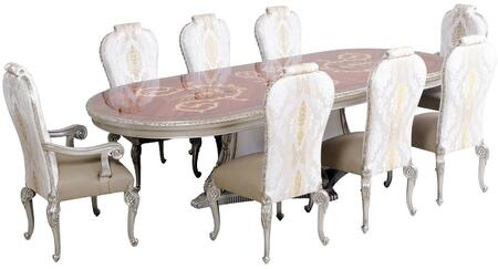 Bellagio Collection Luxury Set 9 Pieces with 1 Dining Table + 2 Arm Chair + 6 Side Chair  in Antique Silver and Natural