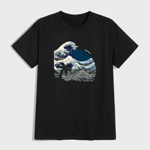 T-Shirt mit Ukiyo-e & tropischem Muster