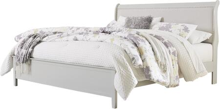 B378-82-97 Jorstad Collection King Size Bed with Fabric Upholstered  Nail Head Accent  Sleigh Headboard  Tapered Legs and Engineered Wood  in
