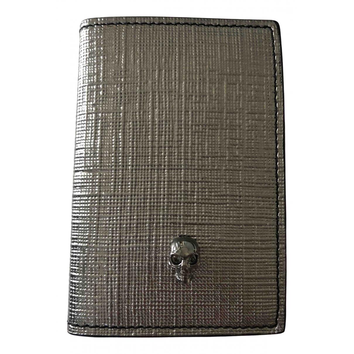Alexander Mcqueen - Portefeuille   pour femme en cuir - argente