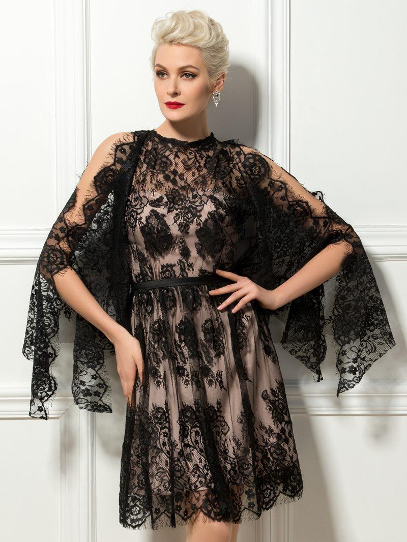 Ericdress Jewel Neck Lace Knee Length Cocktail Dress
