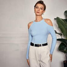 Solid Cold Shoulder Rib-knit Sweater