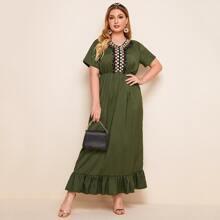 Plus Geo Embroidery Ruffle Hem A-line Dress