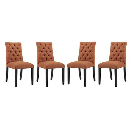 Duchess Collection EEI-3475-ORA Set of 4 Side Chairs with Tapered Wood Legs  Dense Foam Padding  Non-Marking Foot Caps and Fabric Upholstery in