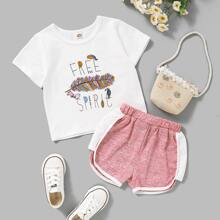 Toddler Girls Letter And Feather Print Tee & Shorts