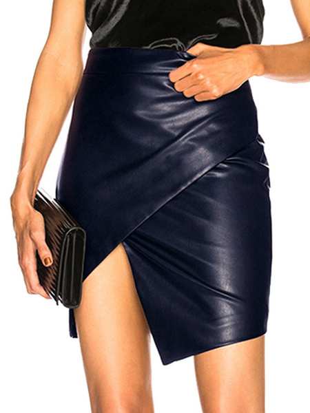 Milanoo Black Mini Skirt Ruched PU Leather Shaping Skirt