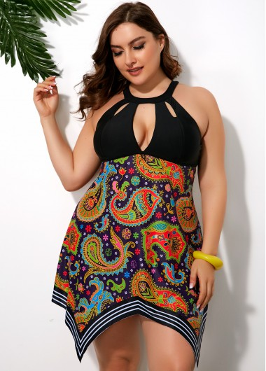 Women'S Multi Color Plus Size Mexican Printed Swimdress Bathing Suit Asymmetric Hem Two Piece Padded Wire Free Swimsuit And Shorts By - 16W
