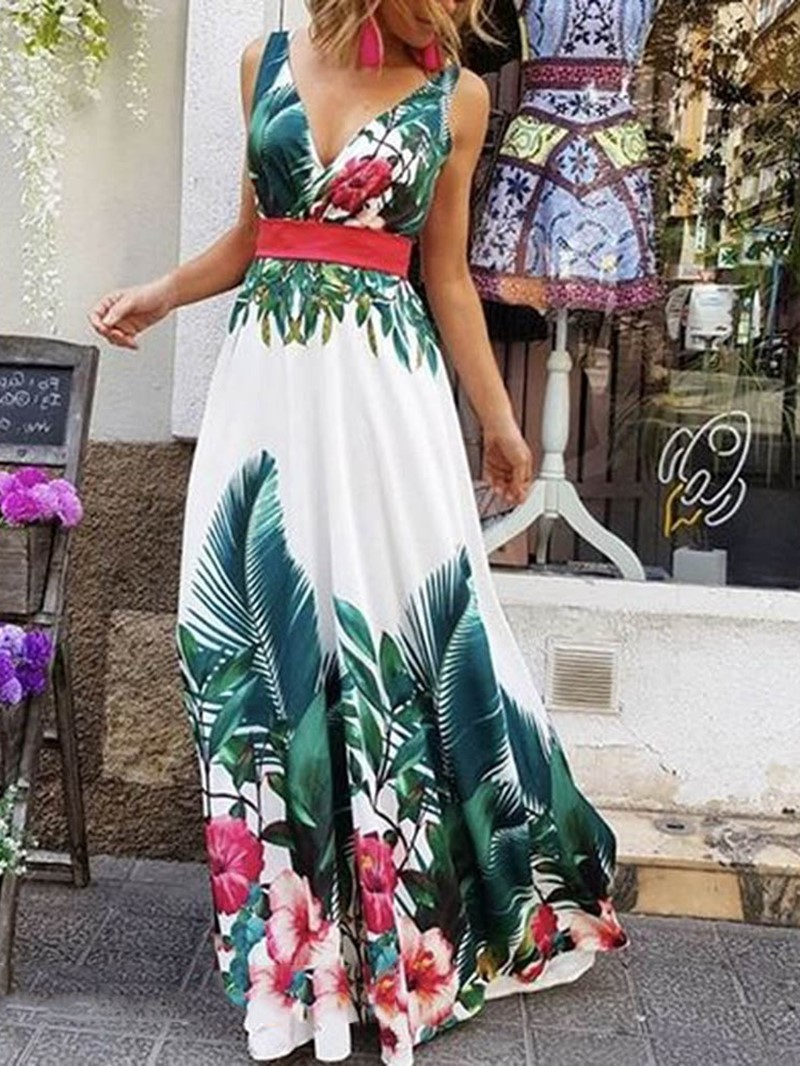 Ericdress Print Floor-Length Sleeveless A-Line Expansion Dress