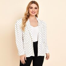 Plus Notched Collar Buttoned Front Polka Dot Blazer