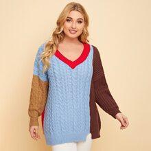 Pullover mit V Kragen, sehr tief angesetzter Schulterpartie und Farbblock