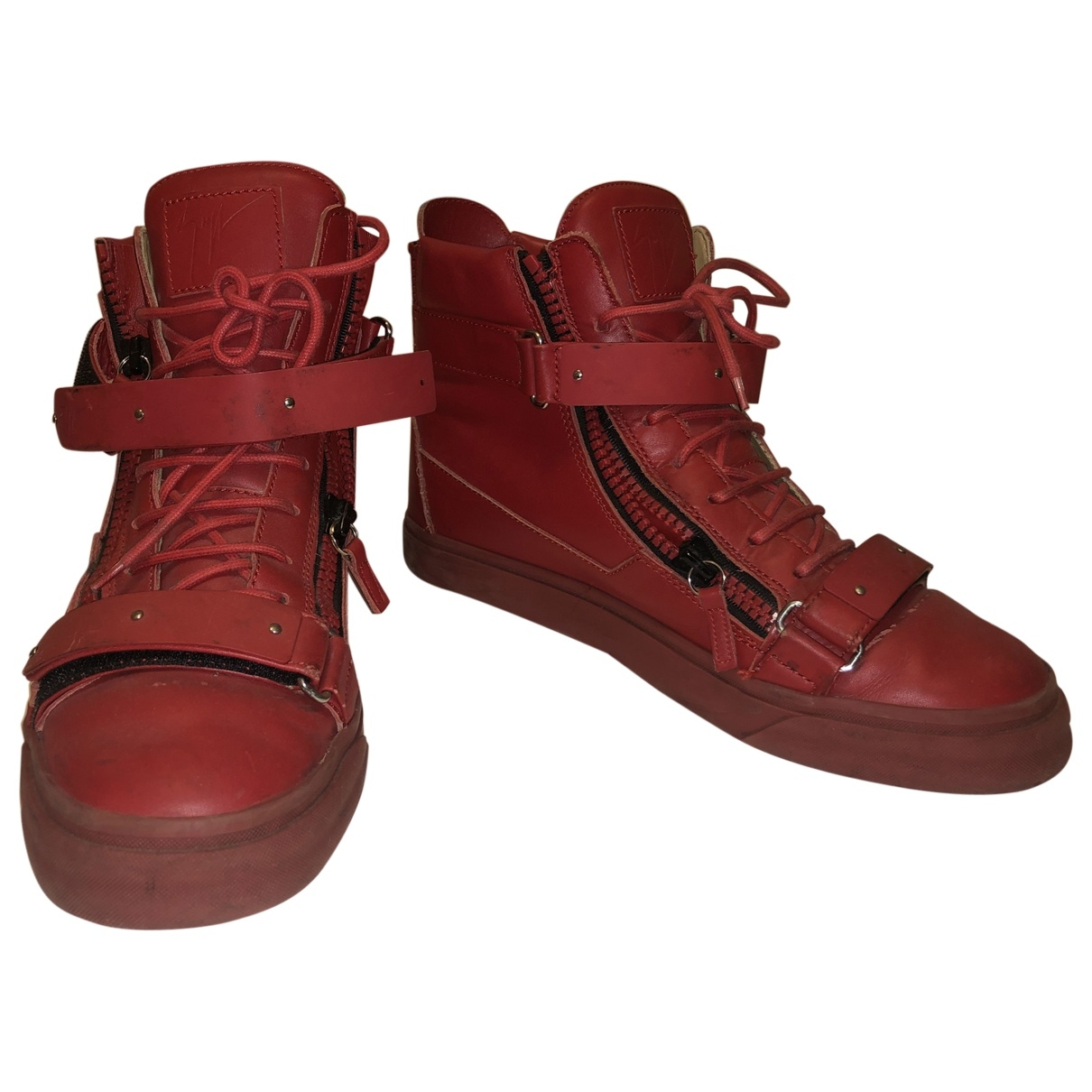 Giuseppe Zanotti \N Red Leather Trainers for Men 43 EU