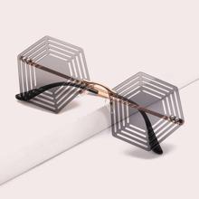 Randlose Sonnenbrille mit geometrischen Linsen
