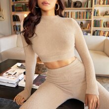 Solid Crop Fluffy Knit Sweater & Pants Set