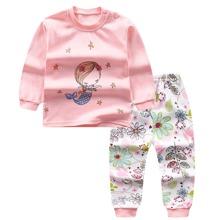 Kleinkind Maedchen T-Shirt mit Meerjungfrau Muster, Knopfen und Hose