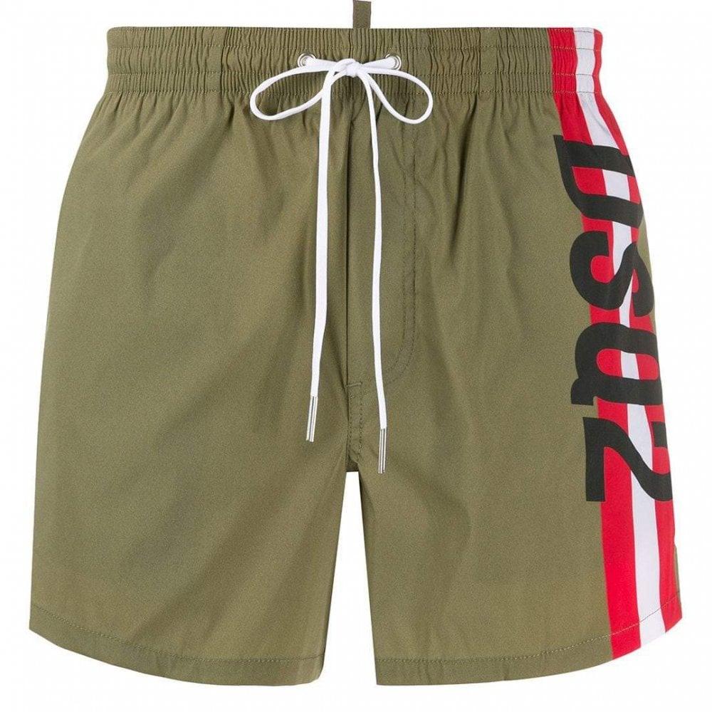 Dsquared2 Stripe Logo Shorts Colour: KHAKI, Size: LARGE