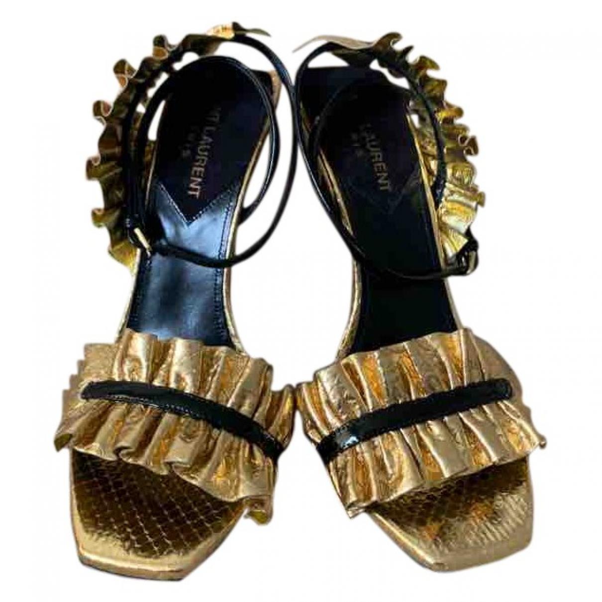 Saint Laurent \N Sandalen in  Gold Leder