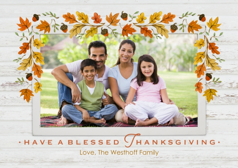 Thanksgiving Photo Cards Mail-for-Me Premium 5x7 Flat Card, Card & Stationery -Fall Leaves Border by Hallmark