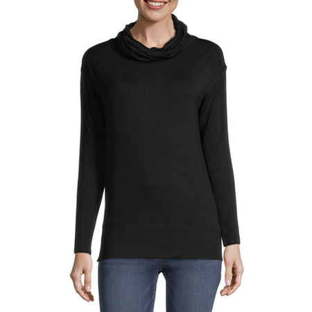 Liz Claiborne Womens Cowl Neck Long Sleeve Tunic Top, X-small , Black