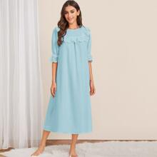Eyelet Embroidered Ruffle Trim Solid Nightdress
