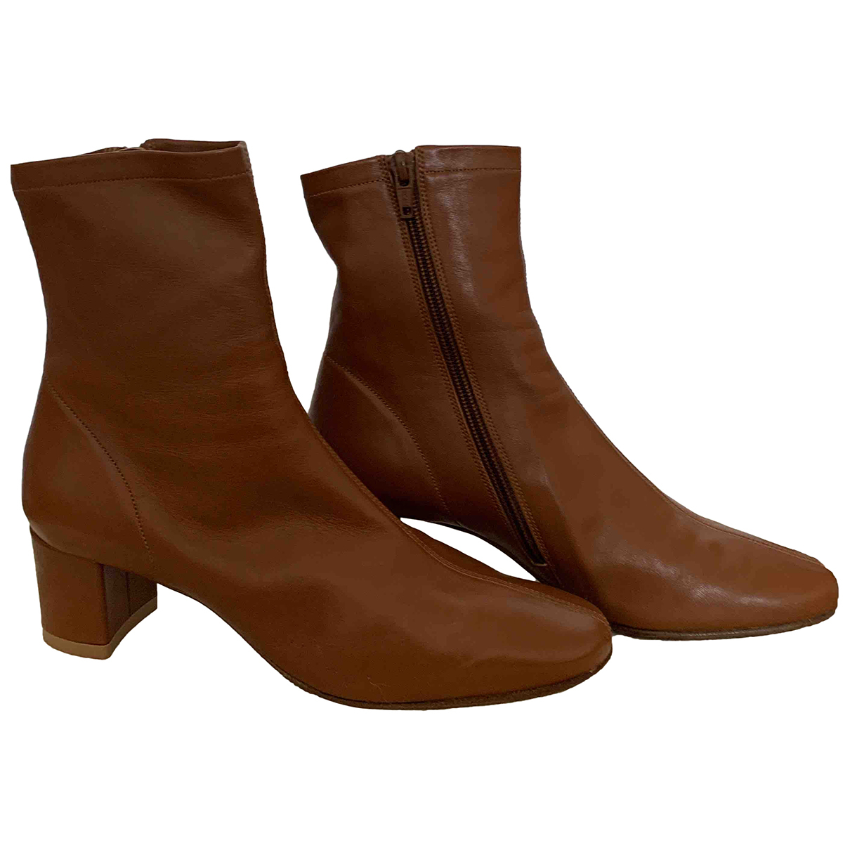 By Far \N Camel Leather Ankle boots for Women 36 EU