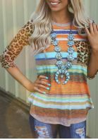 Leopard Printed Pocket T-Shirt Tee without Necklace