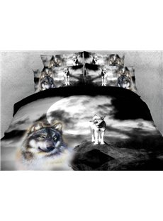 The Wolf In The Moonlight 3D Printed 4-Piece Polyester Bedding Sets/Duvet Covers