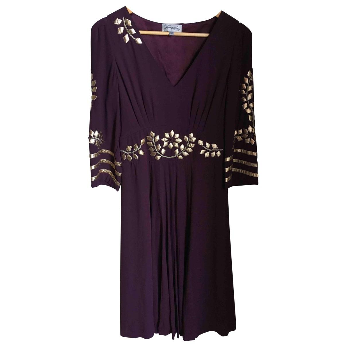 Temperley London \N Burgundy Silk dress for Women 10 UK
