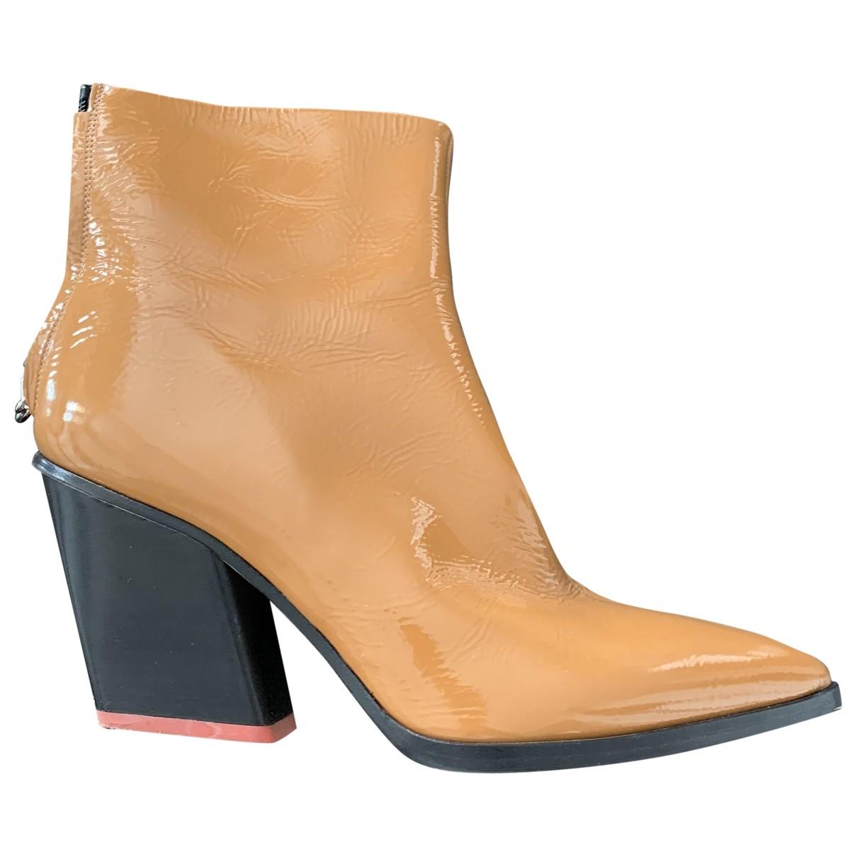 Aeyde - Boots   pour femme en cuir verni - marron