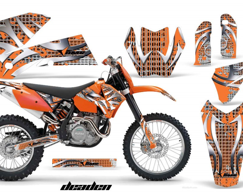 AMR Racing Dirt Bike Decal Graphic Kit Wrap For KTM EXC/SX/MXC?/SMR/XCF-W 2005-2007áDEADEN ORANGE