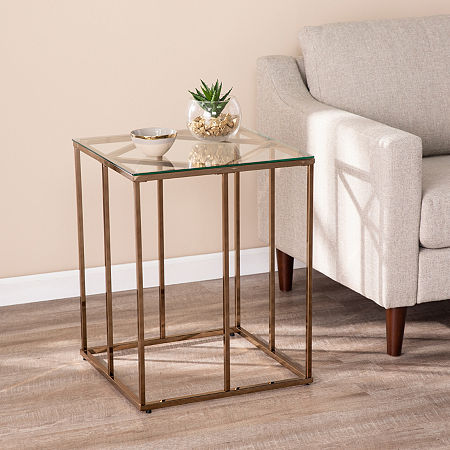 Southern Enterprises Plegi End Table, One Size , Yellow