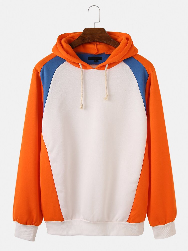 Mens Colorblock Patchwork Loose Casual Fit Drawstring Pullover Hoodies