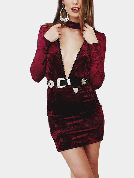 Yoins Burgundy Sexy Deep V-neck Long Sleeves Velvet Dress
