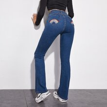 Rainbow Stripe Embroidery Back Jeans