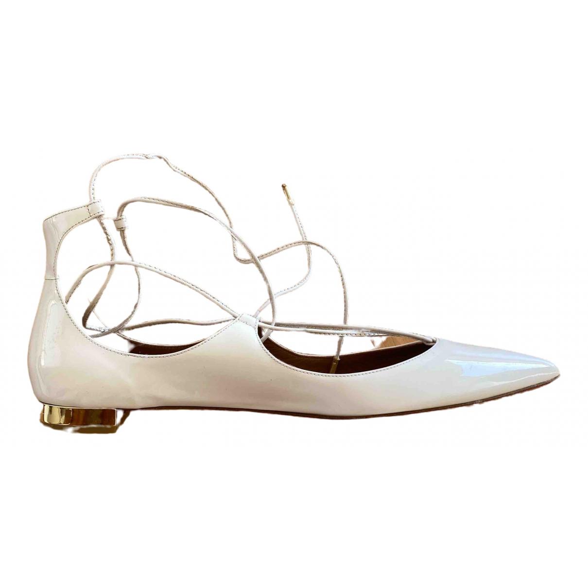 Aquazzura \N Ballerinas in  Weiss Leder