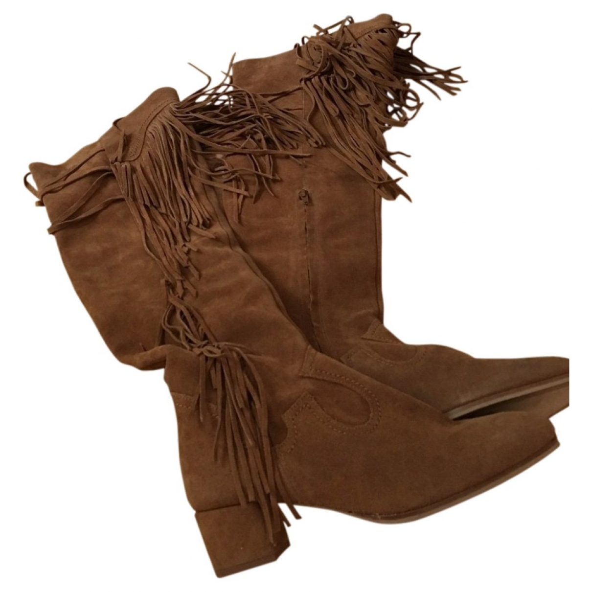 Zara \N Brown Leather Boots for Women 40 EU