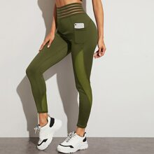 Contrast Mesh Sports Leggings With Phone Pocket