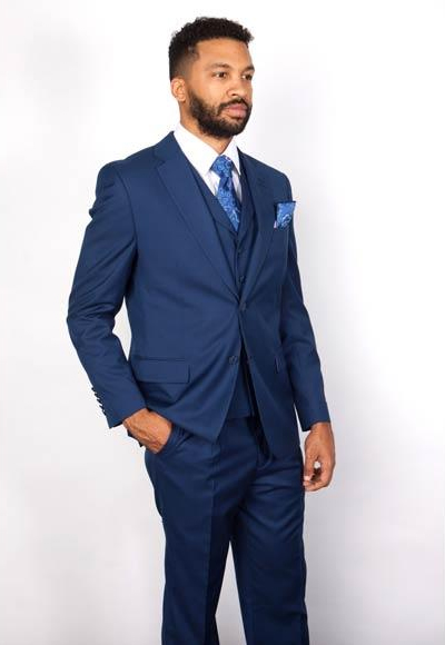 Men's 3 Piece Notch Lapel Single Breasted 1 Wool Blue Vested Suit