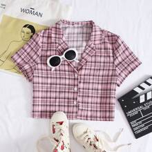 Button Front Plaid Print Top