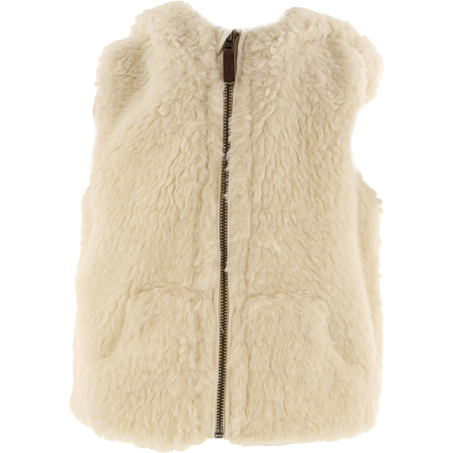 Janie And Jack Girl's White Hooded Sherpa Vest - 0-3 Months