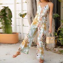 Cami Jumpsuit mit tropischem Muster, Selbstguertel und breitem Beinschnitt