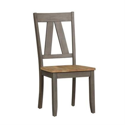 Lindsey Farm Collection 62-C2500S Side Chair with Inverted V Design in Chairs and Nylon Chair Glides in Gray and Sandstone