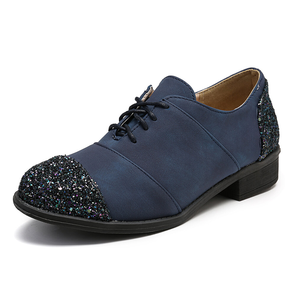 Large Size Women Color Splicing Lace Up Low Heel Casual Shoes