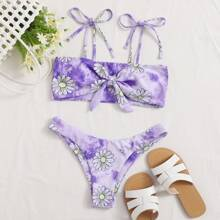 Tie Dye Floral Mixed Bikini Swimsuit
