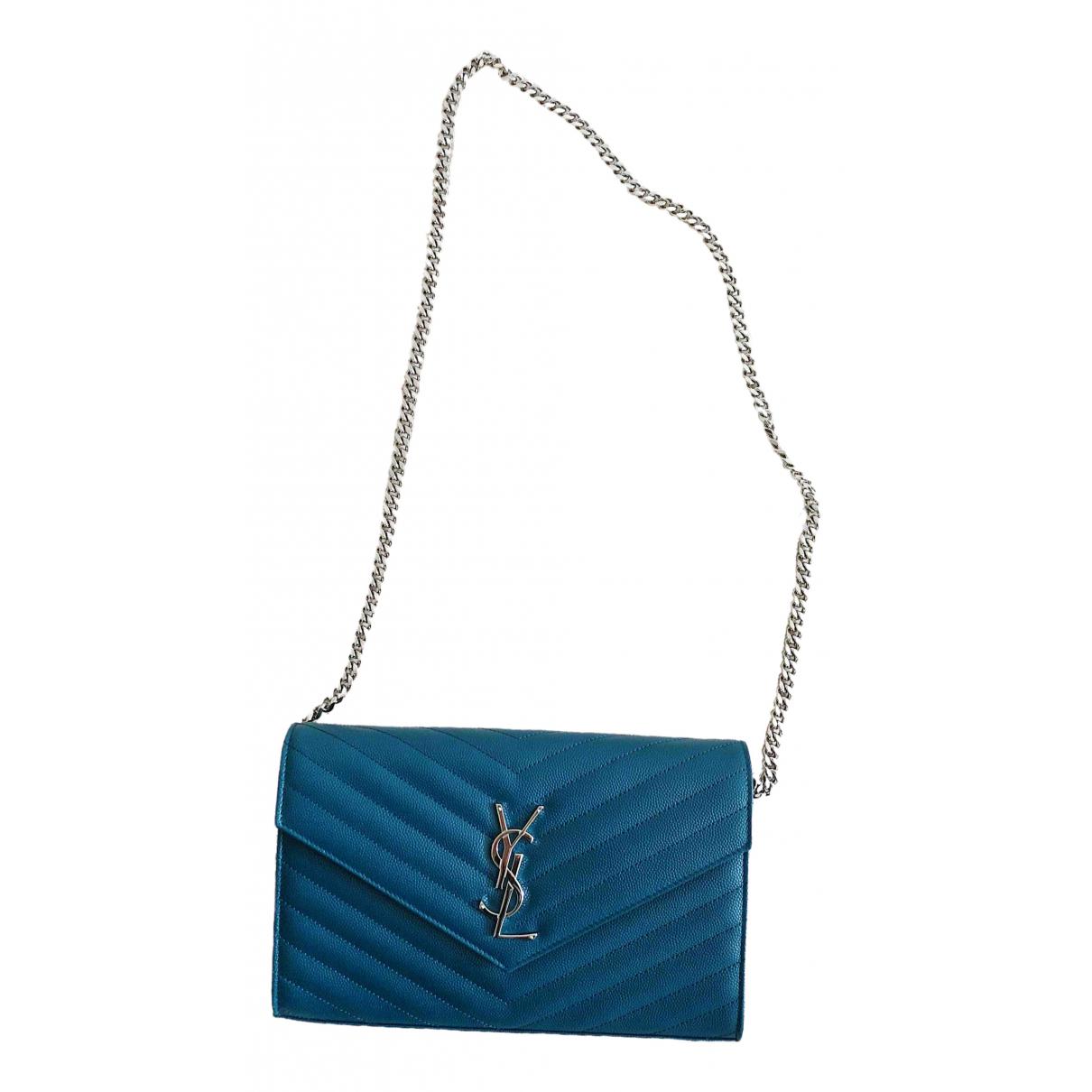 Saint Laurent Kate monogramme Clutch in  Blau Leder
