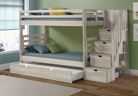 2793-TTSIG_2773-IG Twin/Twin Stairway Bunk Bed in Ice Grey Finish W/Twin Trundle