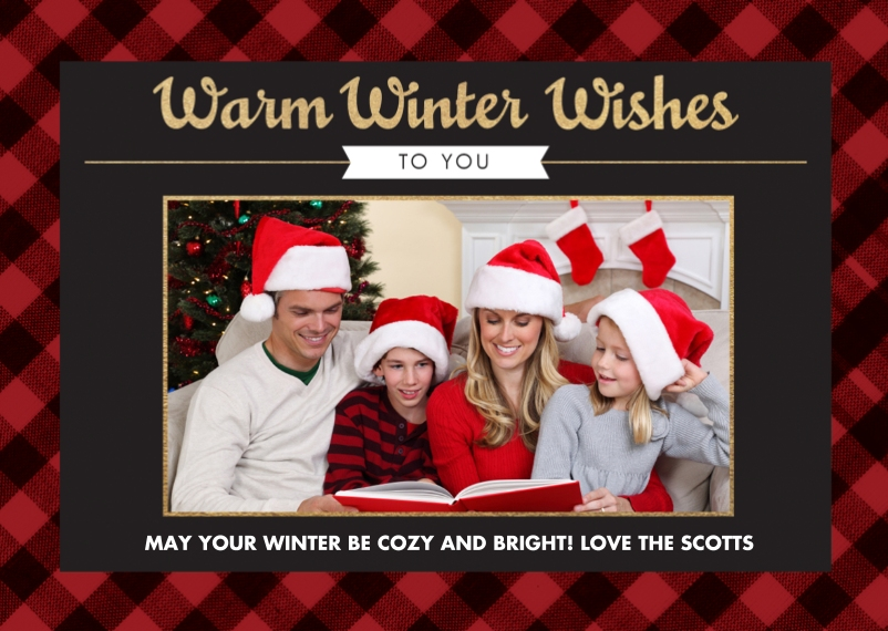 Holiday Mail-for-Me Premium 5x7 Folded Card , Card & Stationery -A Winters Plaid