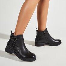Stiefel mit seitlichem Reissverschluss und Schnalle Dekor